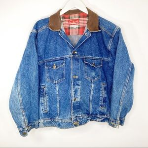 Vintage Marlboro denim leather jacket large